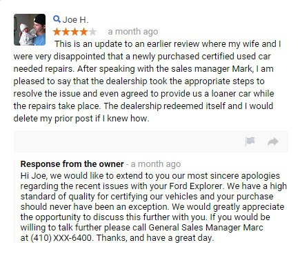 Responding to negative review 2